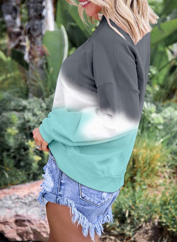 Eytino Women Long Sleeve Sweatshirt Colorblock Tie Dye Printed Pullover Tops(S-2XL)