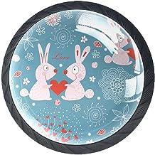 AITAI Set van 4 deurknop decoratieve handgreep konijn blauw liefde elegante toevoeging voor kast lade dressoir slaapkamer