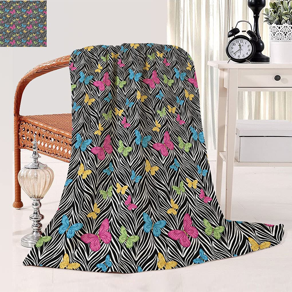 Colorful Print Cheap mail order shopping All Season sold out Throw Blanket Zebra Butterflies on Ab