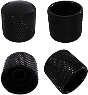 Metallor Knurled Black Metal 18mm Diameter Dome Style Guitar Tone or Volume Control Knobs Compatible with 6mm Solid Shaft ...