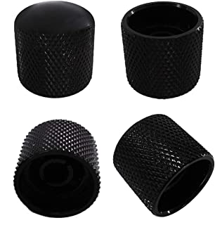 Metallor Knurled Black Metal 18mm Diameter Dome Style Guitar Tone or Volume Control Knobs Compatible with 6mm Solid Shaft Tele Telecaster Style Electric Guitar or Bass Set of 4Pcs.