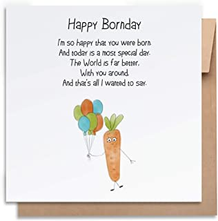 Birthday Card-Happy Bornday-with Envelope, Birthday Card Funny Birthday Card Humorous Birthday Card for Him Birthday Card ...