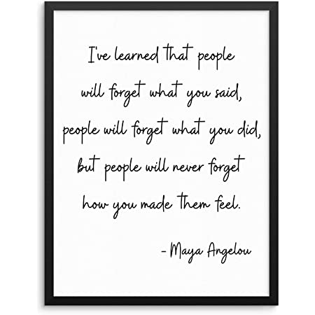 """Inspirational Maya Angelou Quote Wall Decor Art Print Poster - I've Learned That People -11""""x14"""" UNFRAMED- Motivational Artwork for Living Room, Bedroom, Home Office (11""""x14"""")"""