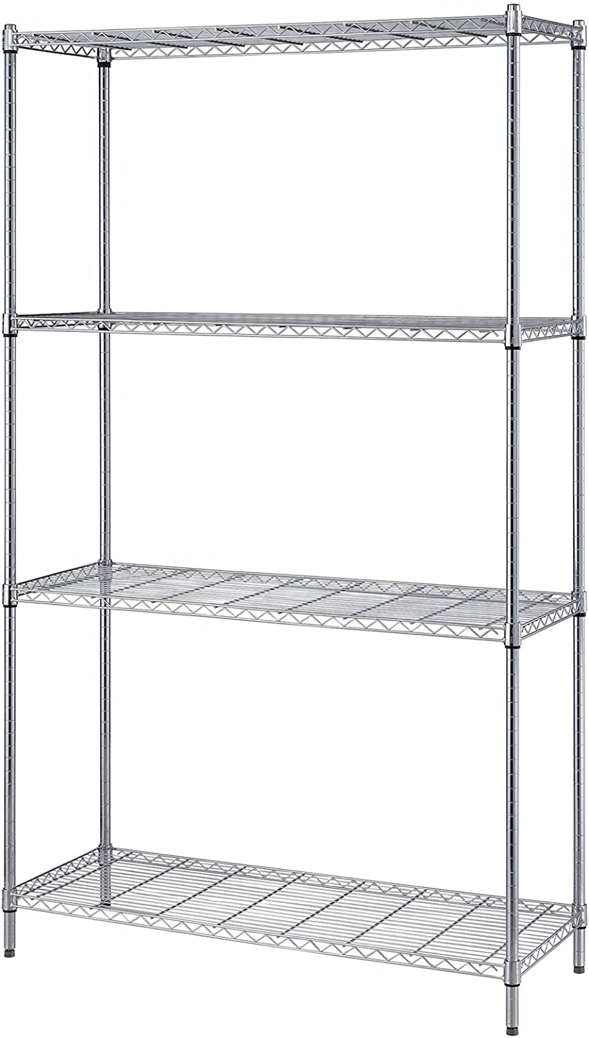 Quantum Storage Systems RWR72-1842LD 4-Tier Wire Shelving Unit, Chrome Finish, 300 lb. Per Shelf Capacity, 72  Height x 42  Width x 18  Depth
