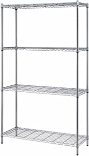 Quantum Storage 4-Shelf Adjustable Wire Shelving Unit, 300 lb. Load Capacity per Shelf, 72 H x 36 W x 24 D, Chrome Finish