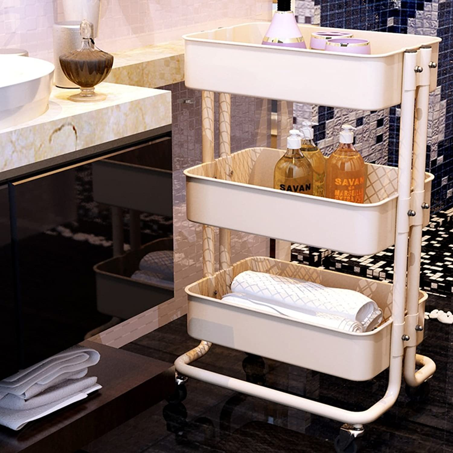 Kitchen Bathroom Carbon Steel Storage Rack, Floor Style Three Layers Storage Rack with Wheel -by TIANTA (color   Beige)