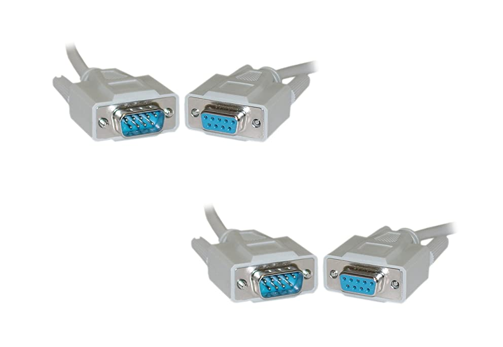 C&E 6-Feet RS-232 UL Rated 9-Conductor 1:1 DB9 Male to DB9 Female Serial Extension Cable, 2-Pack (CNE21691)