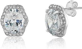 Montage Jewelry Women's Oval Cubic Zirconia & Sterling Silver Vintage Stud Earrings
