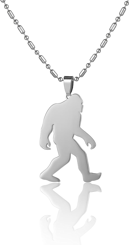 Stainless Steel Yeti Sasquatch Bigfoot Big Foot Monster Ape Pendant Necklace