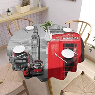 Washable Round Tablecloth,LondonLondon Telephone Booth in The Street Traditional Local Cultural Icon England UK Retro,Outdoor Round Tablecloth Red Grey Diameter 70