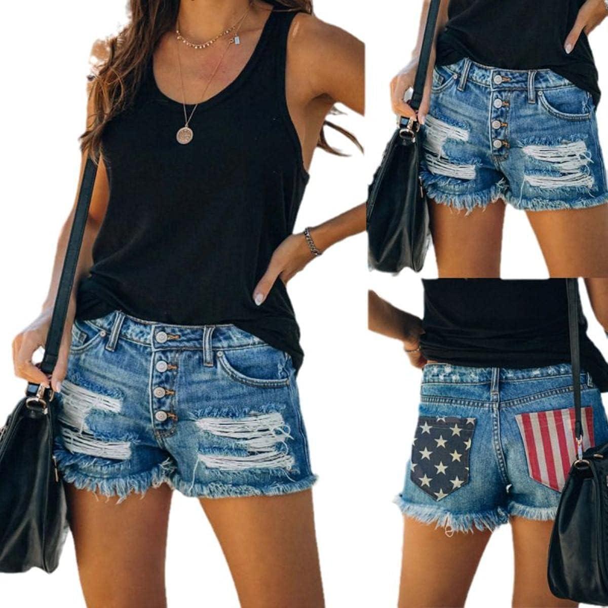 2021 Women's American Flag Printed Ripped Denim Shorts