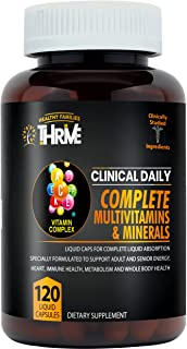 CLINICAL DAILY COMPLETE Whole Food Multivitamin Supplement For Women & Men. 120 Liquid Capsules = Complete Liquid Vitamin Absorption! 42 Superfood Fruits Vegetables - 360 Health, Young Adult to Senior