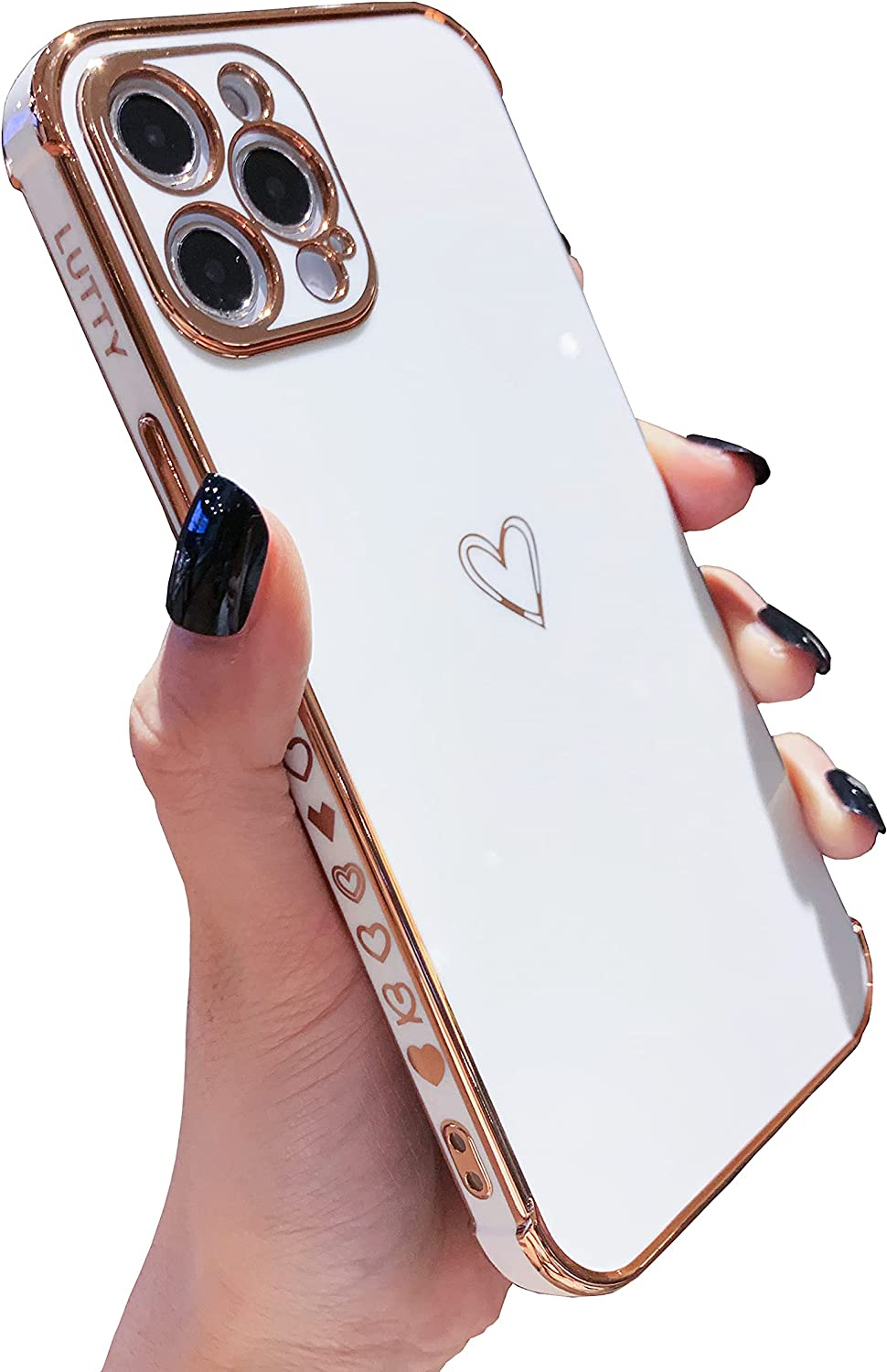 LUTTY Compatible with iPhone 12 Pro Max Case for Women, Cute Phone Cases for Girl Raised Full Camera Protection, Shockproof Reinforced Corners Soft TPU Electroplate Bumper Case (6.7 inch) -Candy White