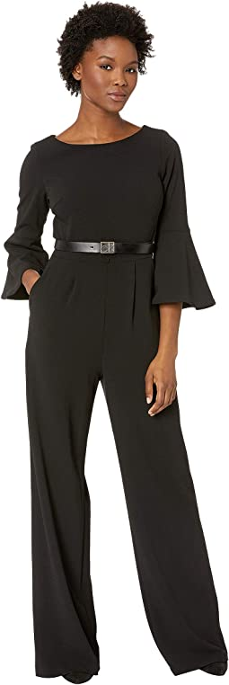 602bb8de2a6 Donna morgan v neck crepe jumpsuit w bell sleeve