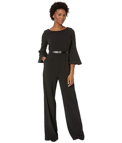 Calvin Klein Bell Sleeve Jumpsuit with Logo Belt CD8C17B7 (Black) Women