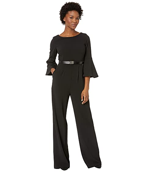 c41f03516873d Calvin Klein Bell Sleeve Jumpsuit with Logo Belt CD8C17B7 at Zappos.com