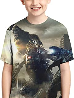 Godzilla Vs King Kong Youth Short Sleeve Tops Tee Kids T-Shirt for Teen Boys and Girls&