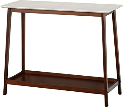 """TMS JHOVIES Faux Marble Mid Century Living Room Tall Entryway Console Table, 39.3"""" W, White/Walnut"""