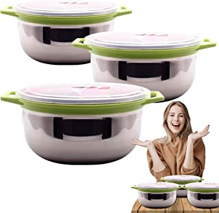 3 Stainless Steel Bowl & Cooking Set [Induction Approved] Food Storage Bowls with Lids, Great for Mixing, Baking, Serving ...