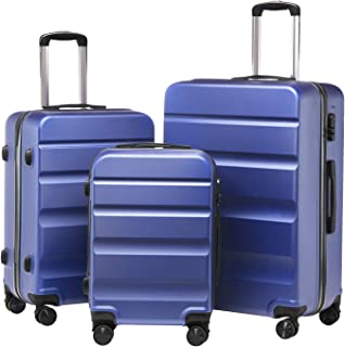 Forfar Suitcases Set 3 Piece Carry on Luggage Set Spinner Hardside Luggage 360° Wheels ABS Durable Hardshell Lightweight 20/24/28Inch (New Blue)