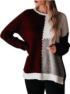 Fossen Jerséis Mujer Originales Costuras de Color Suéter de Punto Ahuecado, Sudaderas Mujer Tumblr Invierno