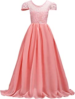 Lihuang Girls Flower Lace Chiffon Princess Dress Long Party Girl Dresses Prom Bridesmaid's Gown