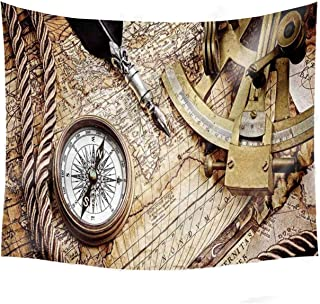YOLIYANA Compass Decorative Tapestry,Vintage Navigation Voyage Theme Lifestyle Image with Sextant and Compass Discovery Tools for Basement,60''W x 51''H