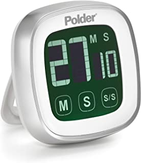 Polder TMR-899-90 Digital Touch Screen Kitchen Timer with Backlit Display, White