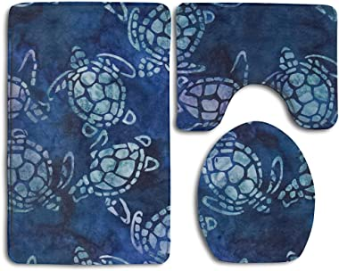 BAChenfan Sea Turtles Blue 3 Piece Bathroom Rug Mat Set Soft Memory Foam Bath Carpet Contour Rug with Lid Cover