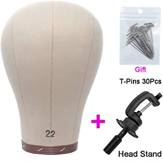 Wig Head Cork Canvas Mannequin Head with Stand Set Block for Wigs Making Display Styling 22 Inch (Cork Head+T-Pins+Clamp Stand)