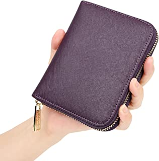 Women's RFID Blocking 20 Slots Card Holder Leather Zipper Compact Accordion Wallet