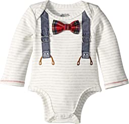 Plaid Bow Tie Long Sleeve One-Piece Crawler w/ Extra Bow Tie (Infant)