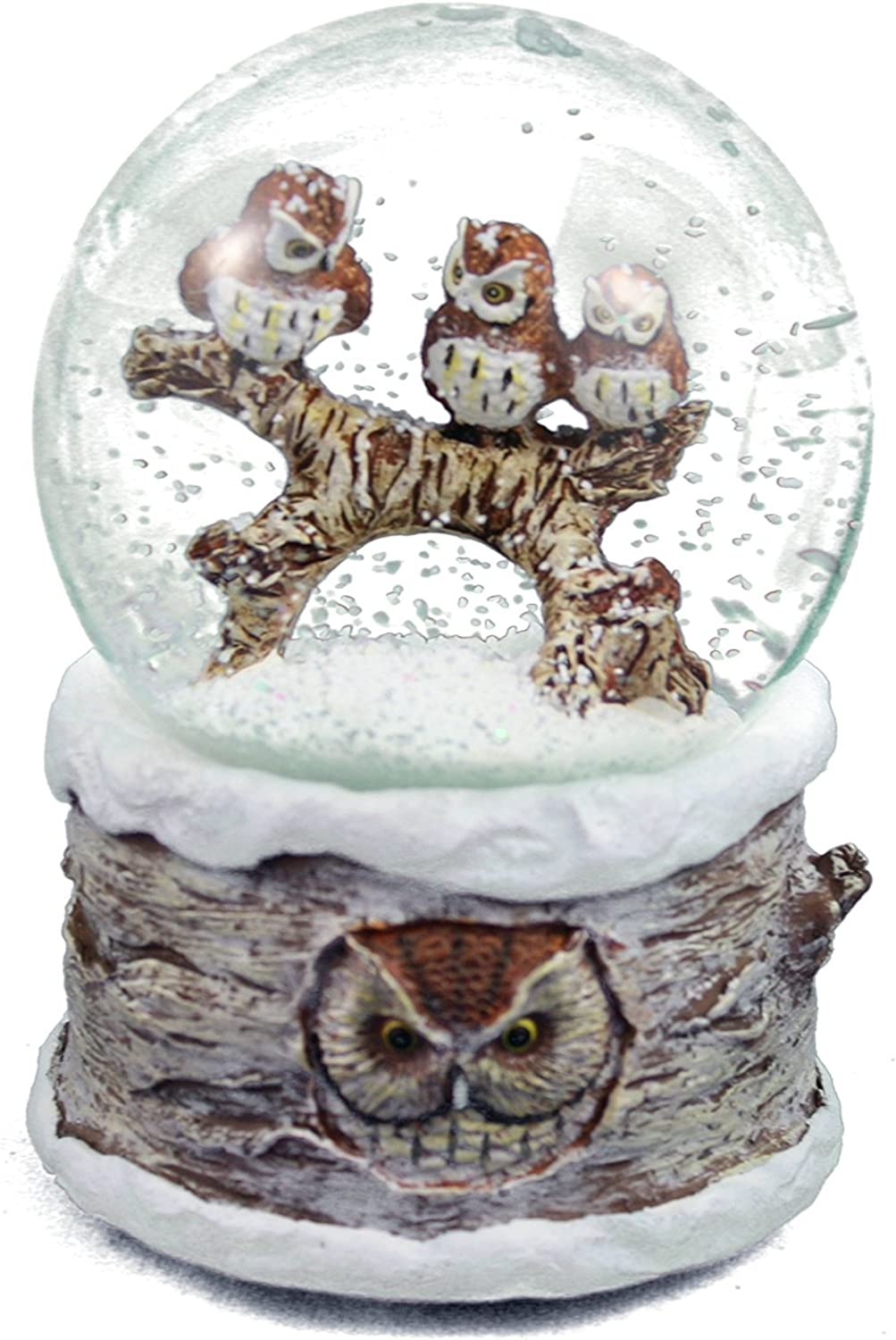 Winter Barn Owls 100mm Musical Snow Globe Plays Carol of the Bells