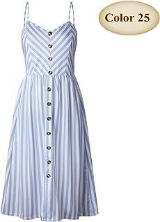 CEGFXCSW Dress New Boho Off-Shoulder Party Beach Sundress Spaghetti Long Dresses Plus Size Summer Women Button Decorated Print Dress