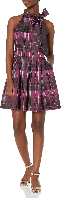 Vince Camuto Women's Satin Plaid Bow Neck Fit & Flare Dress
