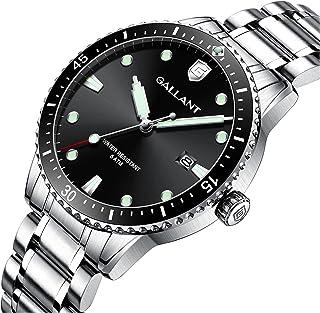 Men's Watch Quartz Watch with Stainless Steel Band Silver Wrist Watch for Men Calendar Date Luminous 5ATM Waterproof Watch...
