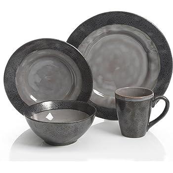 Gibson Dragonstone 16 pc Dinnerware Set Grey Stoneware, Gray -