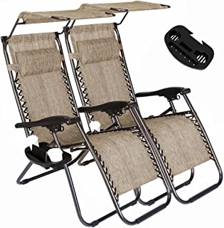 2 Pack of Zero Gravity Outdoor Folding Lounge Chairs w/Sunshade Canopy+ Snack Tray,Adjustable Lawn Patio Reclining Chairs for Travel Yard Beach Pool (Grey)