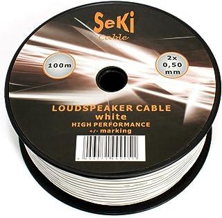 Luidsprekerkabel 2x0,50mm2-100m - wit - CCA - audiokabel - luidsprekerkabel