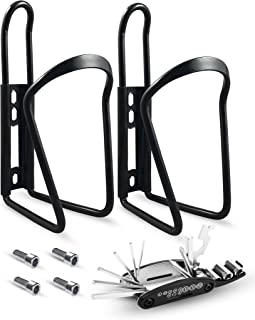 SRAMI Bike Water Bottle Holder, Strong and Lightweight Bicycle Water Bottle Cage for MTB Road Bike with Multi Functional Repair Tool Kit 2 Pack