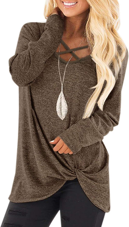 NIASHOT Womens Long Sleeves Shirts V Neck Loose Fit Fall Tunic Top