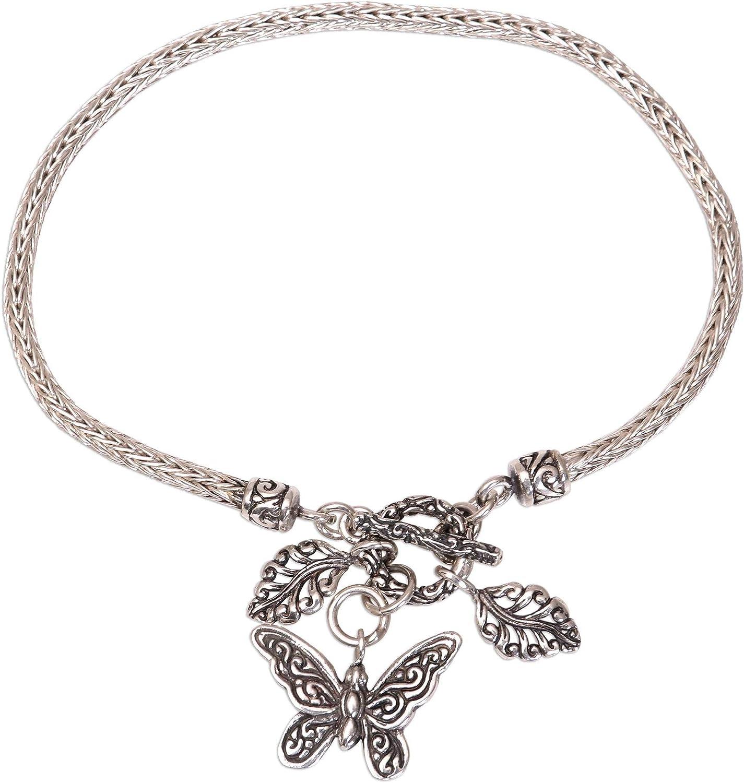 Novica Butterfly Liberty Sterling Silver Chain Bracelet For Girl