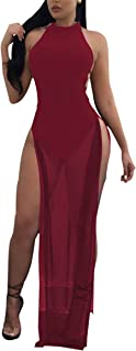 Womens Sexy Crew Neck Backless High Split Mesh See Through Party Club Long Dress