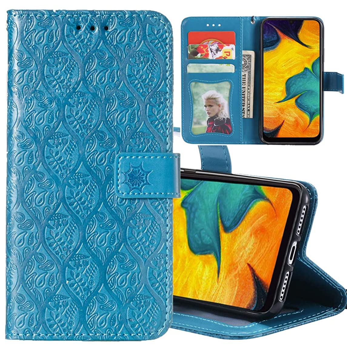 Galaxy M20 Case,Case for Galaxy M20,Designed for Samsung Galaxy M20 Case Wallet Leather Folio Flip Phone Protective Case Cover with Card Slots Holder and Kickstand Mandala Floral Flower,Blue