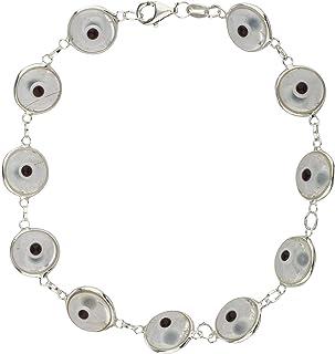 JOTW Multicolored Rainbow Style Sterling Silver 7 Inch Evil Eye Bracelet