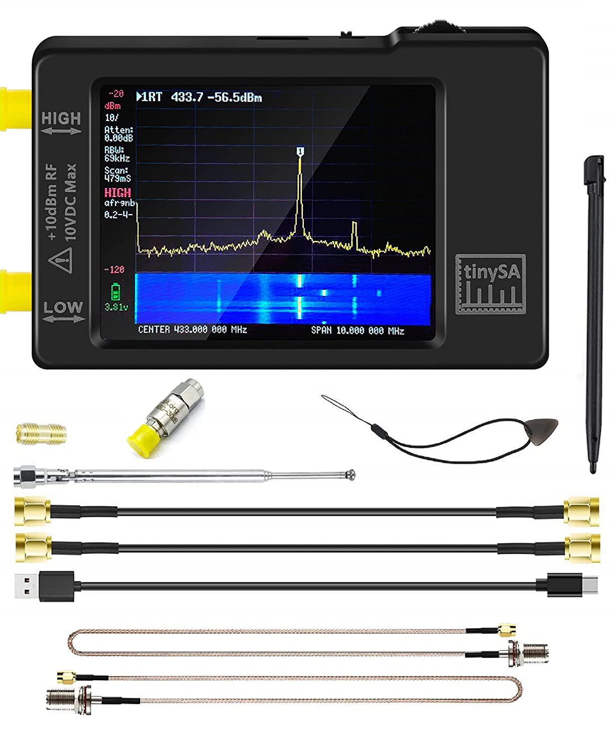Portable tinySA Spectrum Analyzer - AURSINC Handheld Frequency Analyzer V0.3.1 with Antenna SMA Male to UHF Female Cables & 30db Attenuator MF   HF   VHF UHF Input for 0.1MHZ-960MHz 2.8'' Touchscreen