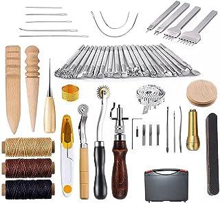 Cigopx 59PCS Craft Leather Tool Set Kit d'outils de travail à la main en cuir bricolage pour la couture Couture Sculpture ...