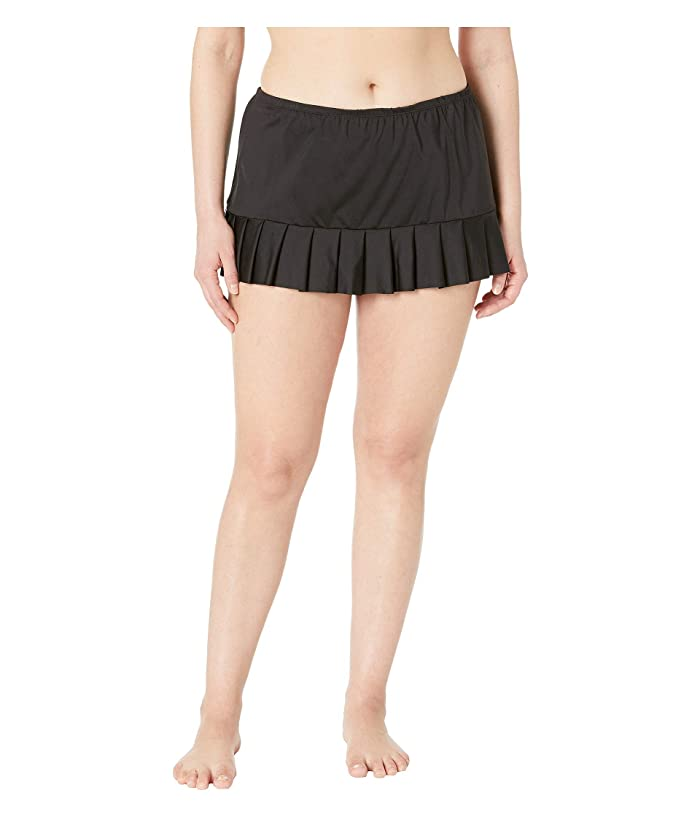 24th & Ocean Plus Size Solids Mid Waist Pleated Skirt Bottoms (Black) Women