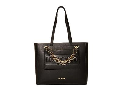 LOVE Moschino Chained Love Tote (Black Calf PU) Handbags
