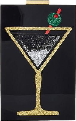 Martini Glitter Quicksand Lucite Clutch
